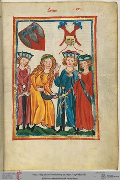 """Boppo"", in ""Heidelberger Liederhandschrift (Codex Manesse)"", Zürich, ca. Medieval Books, Medieval World, Medieval Manuscript, Medieval Art, Illuminated Manuscript, Middle Ages Clothing, Medieval Paintings, Medieval Clothing, 14th Century"