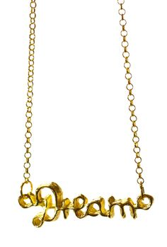 18K Yellow Gold Plated Sterling Silver, Dream it. Wish it. Do it. The pendant necklace series is a small reminder to enjoy the moment, and live in the present. Dance when music is good, play when the game is on, dream when you still can. http://zocko.it/LDCCR