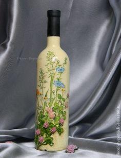 """Подарочное оформление бутылок ручной работы. Ярмарка Мастеров - ручная работа Подарочное вино """"Летнее утро"""". Handmade."""