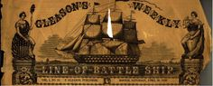 1859 Boston newspaper masthead image with ship and Ladies Liberty and Columbia.