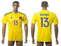 2016 European Cup Ukraine Home #13 Shevchuk Yellow Men's Soccer A+ Shirt