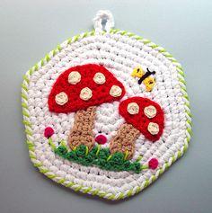 Crochet Red Mushrooms Kitchen Pot Holder