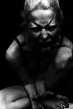 'Holding onto anger is like drinking poison and expecting the other person to die.' - Buddha (Photograph by Billy the Kidd) | black & white fashion editorial | emotion | anger | frustration | primal scream | let it all out | dark