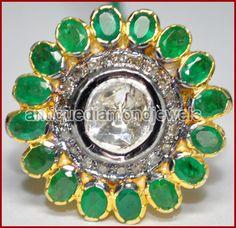 1.02cts ROSE/ANTIQUE CUT DIAMOND EMERALD .925 SILVER RING #BridalAntiqueJewels