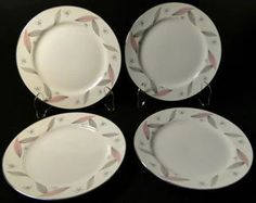 "Narumi Serenade Salad Plates 7 1/2"" Japan Pink Gray Leaves Set of 4 | DR Vintage Dinnerware Replacements Pink Grey, Gray, Vintage Dinnerware, Salad Plates, Dinner Plates, Leaves, Japan, Tableware, Dinnerware"