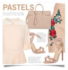 """""""Pastels"""" by cinnamonbelle ❤ liked on Polyvore featuring Tanya Taylor, Alexandre Birman, Boohoo and Yves Saint Laurent"""
