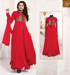 GLAMOROUS DRASHTI DHAMI PINK COLOR EMBROIDERY DRESS AWESOME RED GEORGETTE ANARKALI SALWAR KAMEEZ WITH CHIFFON DUPATTA