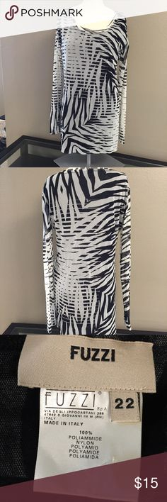 Zebra top Black and cream, Lined sheer top. Raw edges on sleeves, neck and hem. EUC. 22 in pit to pit, 31 in long. Fuzzi Tops Tunics