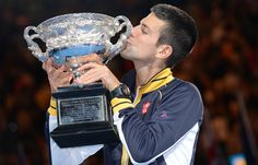 Novak Djokovic celebrates his men's singles win -  Australian Open 2013 #tennis #ausopen