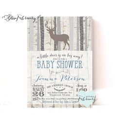 woodland baby shower invitation baby boy shower invite deer shower invites birch deer trees vintage