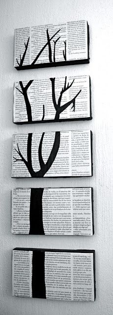 Shoe box lids, book pages, glue and a some black paint. I like the use of shoe box lids instead of canvas. You may be able to put lights inside, or some such. Book Crafts, Fun Crafts, Diy And Crafts, Arts And Crafts, Upcycled Crafts, Shoebox Crafts, Craft Books, Wooden Crafts, Diy Projects To Try