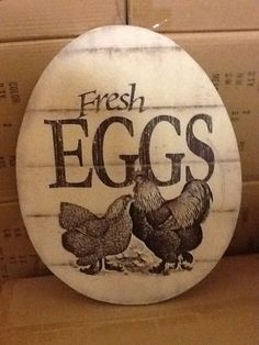 ITEM OF THE DAY :: EGG SIGN You can find this item on page 22 of the new RHC Catalog. Chicken Coop Decor, Chicken Items, Chicken Coop Signs, Chicken Crafts, Chicken Art, Keeping Chickens, Raising Chickens, Egg Logo, Funny Eggs