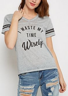 Waste Time Wisely Burnout Football Tee