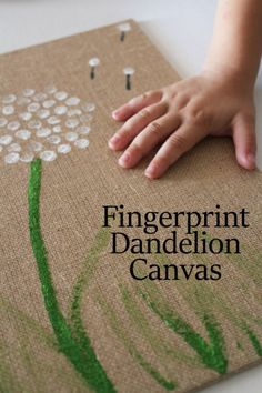 Make a Fingerprint Dandelion Canvas - super cute craft for kids to make their own wall art