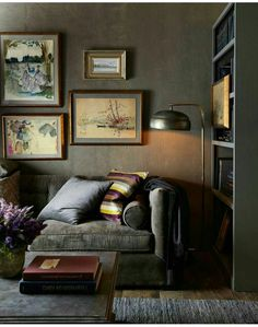 Moody living room, art, gray sofa