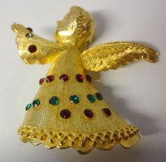 Vintage Signed DODDS '60's Gold Tone Rhinestones Christmas Angel Pin Brooch  | eBay