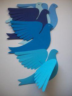 Paper BirdsLily BirdFive Bluebirds by LorenzKraft on Etsy Paper Birds, Paper Flowers, Paper Crafts Origami, Oragami, Animal Crafts For Kids, Bird Crafts, Paper Artwork, Blue Bird, Paper Cutting