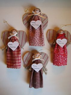 Handmade Angel Christmas Ornaments, Clothespin Angels