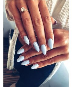 Sky is the limit ������ summer feel in the air, I love summer, pastel colors ... - #almondnails #AcrylicNailsDesigns Simple Acrylic Nails, Almond Acrylic Nails, Almond Shape Nails, Summer Acrylic Nails, Summer Nails, Work Nails, My Nails, Dream Nails, Nagel Gel