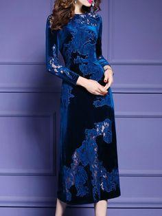 Plus Size Blue Long Sleeve Velvet Midi Dress