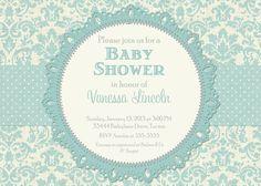 Blue Damask Linen Baby Shower Invitation - Printable