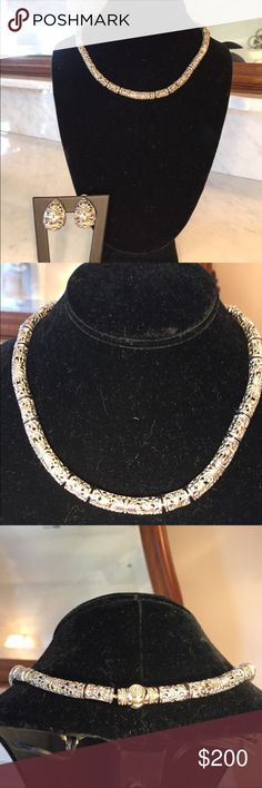 EUC sterling silver with 18 karat overlay filigree This is a set that I bought at Dillard's and was only worn once for a few hours and is in perfect condition accept for the pads on the clip on earrings. The pads are aged and need to be replaced, though I'm not sure we're to find them. Dillards Jewelry Necklaces