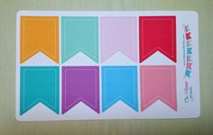 Large Page Flag Stickers with stitching for by ThePlannerFanatic