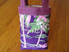 Mini Tote Bag - Hawaiian Pink White Green Palm Trees, Hibiscus on Purple, Burlap, Cotton - Easter Birthday Spa Resort Beach eke, REVERSIBLE! ~ Available on www.MaliakeiBags.com