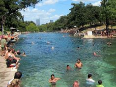 - Barton Springs Pool is a 3-acre swimming pool located in Zilker Park. It's water comes from a nearby underground spring, giving it a crisp year-round tempe