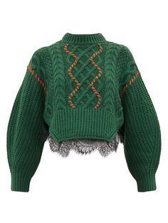 Self-portrait Chunky lace-trim cotton-blend sweater Boutique Basket, Petite Fashion, Plus Size Fashion, Lace Sweater, Green Sweater, Cable Knit Jumper, Tailored Shorts, Knit Fashion, Knitwear Fashion