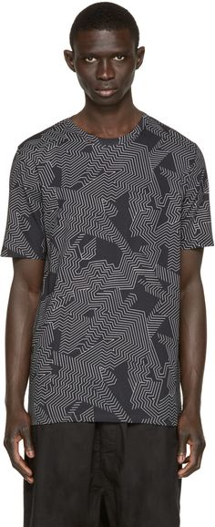 Helmut Lang - Black Labyrinth Print T-Shirt