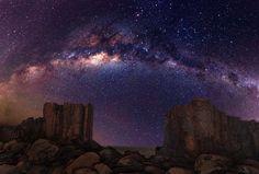Galaxy Milky Way Stars Desert Night Rocks Stones