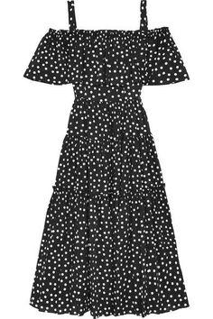 Dolce & Gabbana - Off-the-shoulder Polka-dot Cotton-blend Dress - Black - IT40