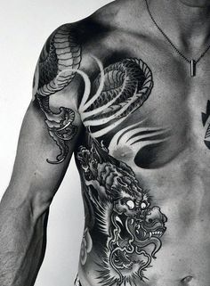 Heavily Shaded Rib Cage Side Of Body Guys Chinese Dragon Tattoo