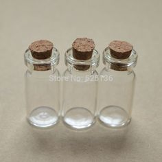 Wholesale 50pcs/lot cute Mini Clear Cork Stopper Glass Bottles Vials Jars Containers Small Wishing Bottle free shipping