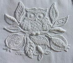 white on white work with an owl - perfect