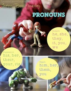 Could be achieved with a comic book app like Strip Designer or Comic Life - Teach pronouns with this simple activity. Children with rich vocabularies have an enormous educational advantage. Teaching Pronouns, Pronoun Activities, Teaching Grammar, Speech Therapy Activities, Language Activities, Teaching English, Speech Language Pathology, Speech And Language, Receptive Language