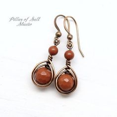 Burnt Orange Red Jasper Earrings - Wire wrapped jewelry handmade - Copper jewelry gift for her - gem You are in the right place about DIY Wire Earrings Here we offer you the most beautiful pictures ab Copper Earrings, Copper Jewelry, Wire Jewelry, Beaded Earrings, Earrings Handmade, Jewelry Gifts, Beaded Jewelry, Diamond Earrings, Bead Jewellery