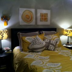 Grey and yellow bedroom maybe next time Charcoal Bedroom, Yellow Gray Bedroom, My New Room, My Room, Dream Bedroom, Master Bedroom, Condo Design, Bedroom Remodeling, Remodeling Ideas