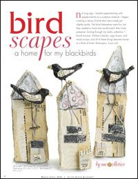 Design custom birdhouses and blackbirds with this art assemblage, collage, and paper mache technique.