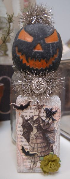Halloween Altered Bottle