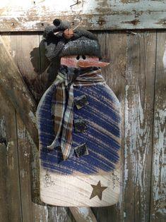 Primitive Snowman, Country Primitive, Wood Snowman, Primitive snowmen, snowmen…