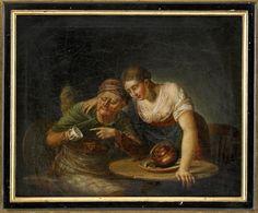 En gumma spår en flicka i kaffesump Olja på duk, 44,5 x 54,5 cm.