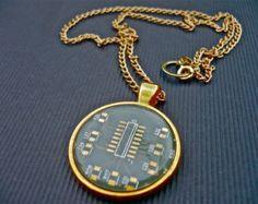 Pendant with chain -shenta seni-- printed circuit board, PCB earrings, motherboard