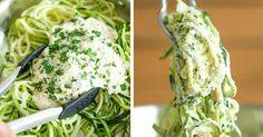 Recept na cuketové rezance so syrovou omáčkou a bylinkami - zdravé, úžasne krémové a nízkokalorické! cuketové špagety, cestoviny z cukety, postup