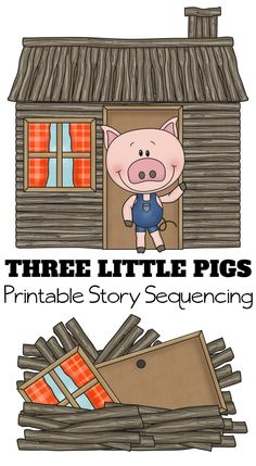 "Paired with the classic 3 Little Pigs Story, these free printables will help your preschooler understand sequencing. Simplify ""what comes first"" understanding in a fun way! #printable #worksheet #freebies #homeschool #educational"