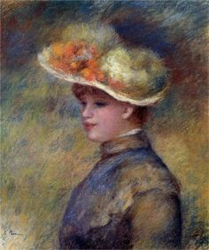 Pierre-Auguste Renoir (French 1841–1919) [Impressionism] Young Woman Wearing a Hat. Private Collection.