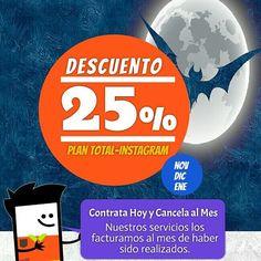 Descuento 25% sobre nuestro Plan Total-Instagram. #agenciasmm #medellin #bogota #riodejaneiro #lima #quito #caracas #panama #costarica #guatemala #puertorico #cartagena #cali #barranquilla #aumentarventas #latinoamerica #redessociales