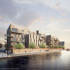 Duggan Morris Architects, Karakusevic Carson and Riches Hawley Mikhail's plans for phase one of the Brentford Lock West redevelopment. Brick Architecture, Architecture Visualization, Residential Architecture, Building Facade, Building Design, Cgi, Duggan Morris, Brick Projects, Townhouse Designs