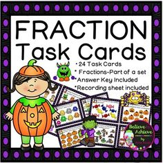 *** 50% off the FIRST 48 HoursFraction Task Cards-24 cards (Fractions-Parts of a…